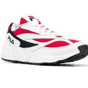 New FILA men's mixed-media red blue sneakers